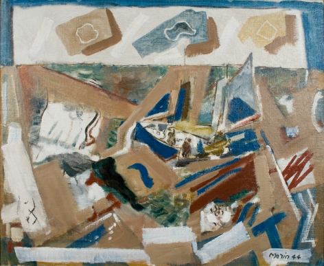 john marin, Sea and Boat Fantasy, 1944 oil on canvas 28 x 34 1/4 inches