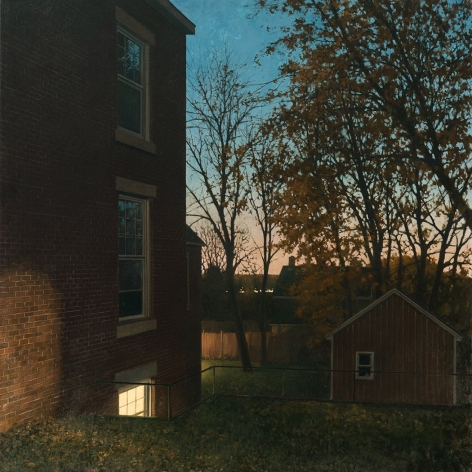 linden frederick, Downstairs (SOLD), 2016, oil on linen, 36 x 36 inches, this painting inspired the short story, Downstairs, by Richard Russo