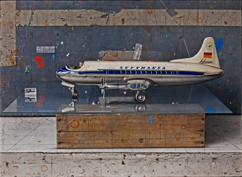 cesar galicia, Lufthansa (SOLD), 2012, mixed media on board, 17 1/2 x 24 inches