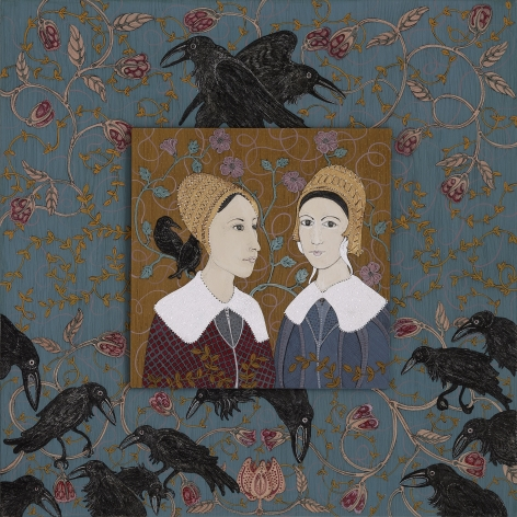 stephanie wilde, Sisters, 2015, ink, acrylic and gold leaf on museum board, 13 x 13 inches