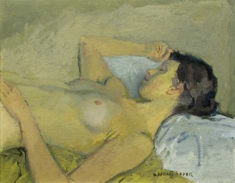 Raphael Soyer, Reclining Nude, oil on canvas, 16 x 20 inches