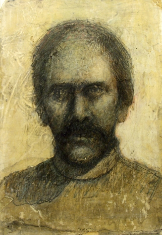 Gregory Gillespie, Self - Portrait (in strong light, partly balding) (SOLD), 1985, oil and pencil on paper, 13 3/4 x 9 1/2 inches