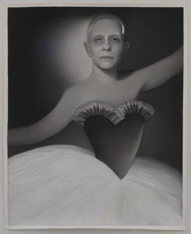 Susan Hauptman, L'après-midi D'un Faune Self Portrait, 2014, charcoal on paper, 47 1/2 x 59 inches