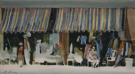 david levine, Coney Display, 1996 watercolor on paper 8 1/2 x 14 inches