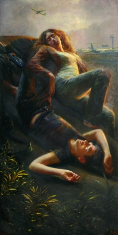 Steven Assael, Airplane Portrait, 2008, oil on canvas, 48 x 24 inches