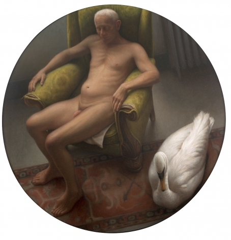 wade schuman, Man with Swan, 2001, oil on linen over panel, 48 inches diameter