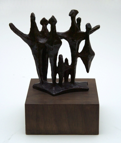 Chaim Gross, Shabbot Angels, 1973, bronze, 5 1/2 X 6 X 2 3/4 inches