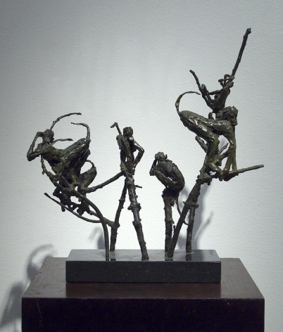Laura Ziegler, Monkeys in Branches, 1980, Bronze, 12 3/4 x 13 1/4 x 4 inches, Edition unique