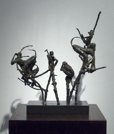 Laura Ziegler, Monkeys in Branches, 1980, Bronze, 12 3/4 x 13 1/4 x 4 inches, Edition unique
