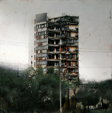 cesar galicia, Building in Ruins, 2011, mixed media on board with silicon carbide, 29 1/2 x 29 1/2 inches