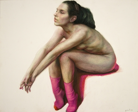 Steven Assael, Carolina with Red Socks, 2008, Caran D'ache pencil on paper, 11 1/4 x 14 inches