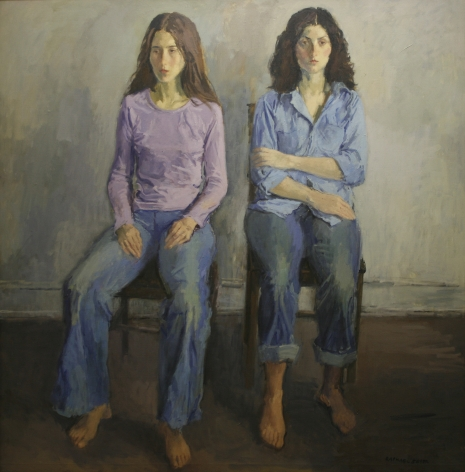 Raphael Soyer, Two Models, 1980, oil on canvas, 51 x 49 1/2 inches