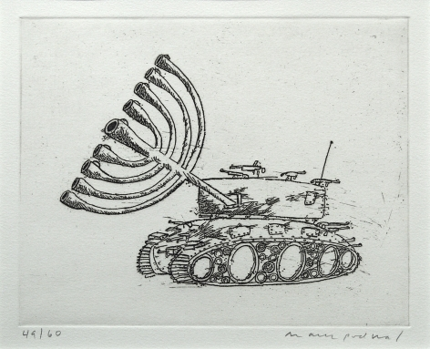 Mark Podwal, Israeli Tank (SOLD), 1998, etching on paper, 7 7/8 x 9 7/8 inches (image), Edition 49/60