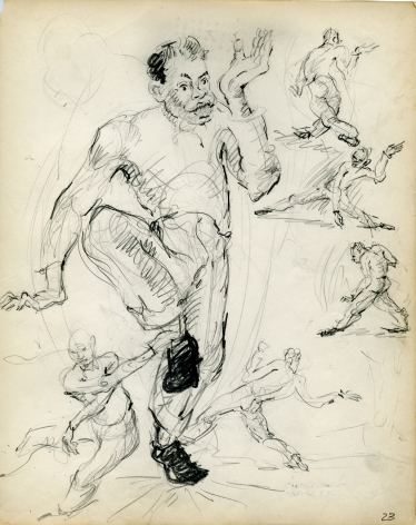 Charles White, Dancers, c. 1935-38 pencil on paper 9 7/8 x 7 3/4 inches