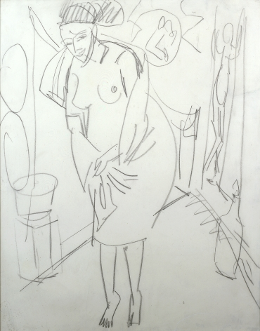 Ernst Ludwig Kirchner, Weiblichen Akt, teilweise In Badetuch (Female Nude Partially Clothed in a Bath Towel), 1912, pencil on paper, 22 x 16 1/2 inches