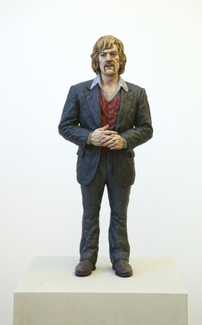 sean henry, N.V.N.G., Man + Wig, 2013, ceramic, oil paint, 30 x 12 x 9 inches, Unique