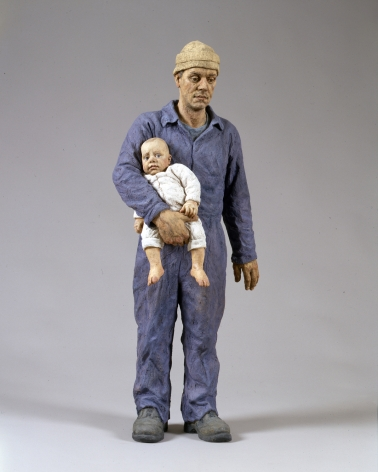 Sean Henry, Sean Henry, Man & Child, 2001, bronze, oil paint, 32 1/2 x 14 x 10 1/2 inches