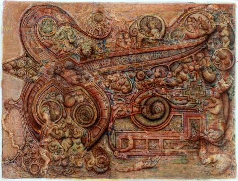 Gregory Gillespie, From the Book of Kells, 1995, mixed media, 19 1/2 x 22 3/4 inches