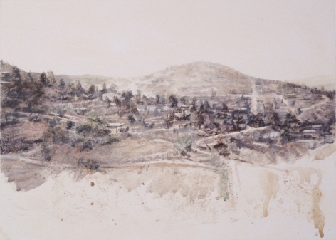 robert bauer, Landscape, 2015, tempera on paper, 13 1/2 x 18 3/4 inches