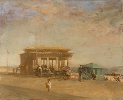 david levine, Boardwalk Pavillion, oil on canvas, 27 x 32 inches