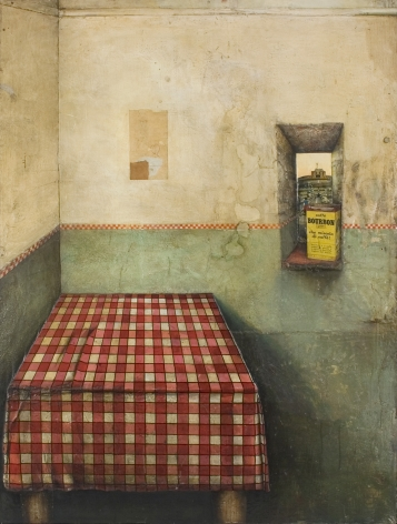 Gregory Gillespie, Roman Interior (Still Life), 1966-67, oil & mixed media on wood, 43 3/4 x 32 3/4 inches