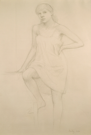 William Bailey, Model Seated with Slip, 1984, graphite on paper, 18 1/2 x 12 1/2 inches