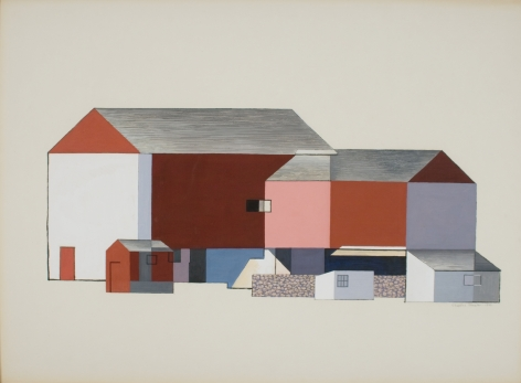 Charles Sheeler, Barn Abstraction, 1946, tempera on paperboard, 21 1/2 x 29 3/8 inches