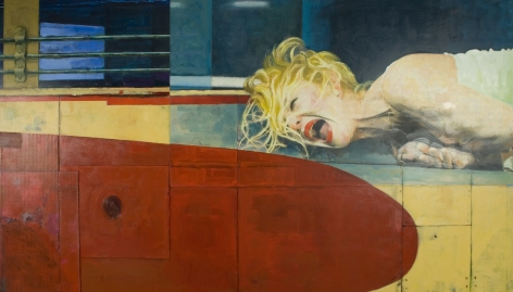 xenia hausner, Out of Breath I, 2005, mixed media, 57 x 102 3/8 inches