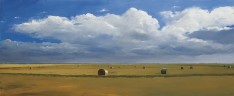 William Beckman, Bales #2 (SOLD), 2016, oil on panel, 24 x 59 inches