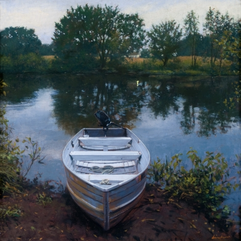 Linden Frederick, Outboard (SOLD), 2008, oil on panel, 12 1/4 x 12 1/4 inches
