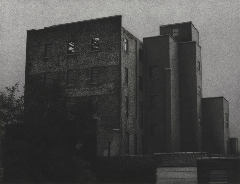 anthony mitri, W. 47th Street and Train Avenue, Cleveland, Ohio, 2011, charcoal on paper, 26 1/4 x 40 3/4 inches