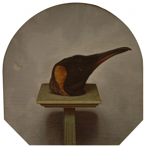 wade schuman, Penguin Head on a Pedestal, 1992, oil on linen on panel, 18 x 18 1/2 inches