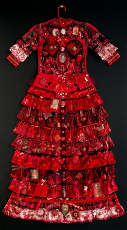 jane lund, Red Dress, 2013, assemblage of collected objects, 59 x 33 inches