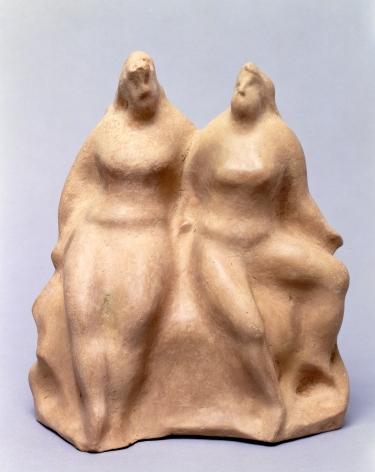 elie nadelman, Two Figures, c. 1930's, papier-mâché, 11 3/4 x 9 3/8 x 5 3/4 inches