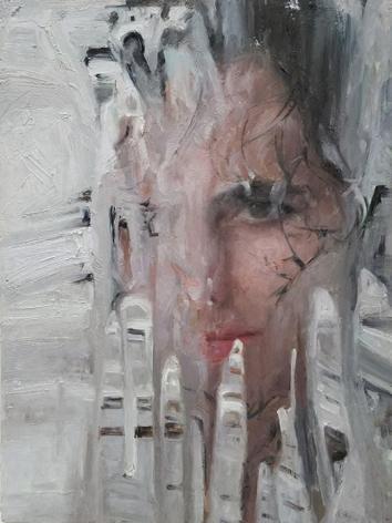 alyssa monks, Foam, 2017, oil on panel, 16 x 12 inches