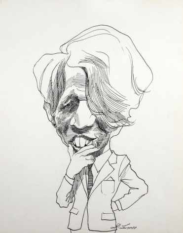 David Levine, Bobby Kennedy, 1988, ink on paper, 14 x 11 inches