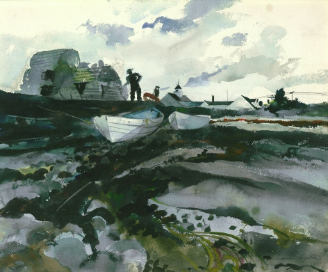 Andrew Wyeth, Cooks Wharf, 1940, watercolor on paper 17 3/8 x 21 3/8 inches
