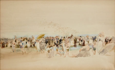 david levine, Massed Bathers, Coney Island, watercolor on paper, 7 1/4 x 11 3/4 inches