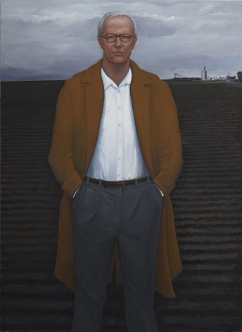William Beckman, Overcoat with Plowed Field, 2018-2019, oil on canvas, 100 x 73 inches