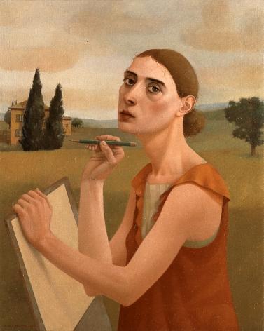 Alan Feltus, The Green Pencil, 2003, oil on linen, 29 1/2 x 23 1/2 inches