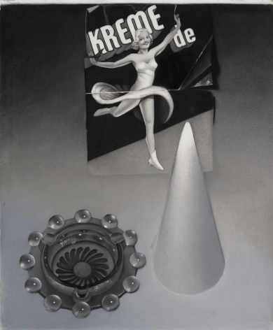 susan hauptman, Still Life (Kreme de), 2011, charcoal on paper, 32 x 38 1/2 inches