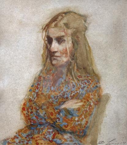 David Levine, Pretty, 2007, watercolor on paper, 9 x 7 3/4 inches