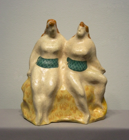 elie nadelman, Two Seated Women, c. 1930-35, glazed and painted papier - mâché, 11 3/4 x 8 1/4 x 5 inches