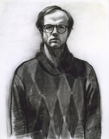 William Beckman, Self Portrait #1 (glasses), 1983, charcoal on paper, 42 1/2 x 33 1/2 inches