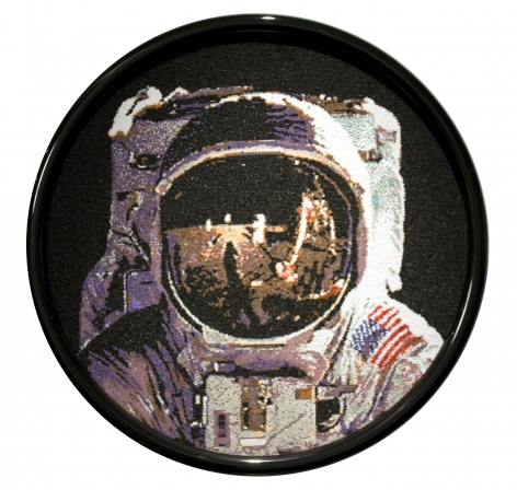 david mach, Neil Armstrong, 2013, pushpins, 39 1/2 inches diameter