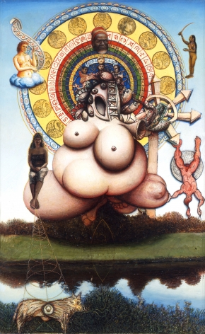 Gregory Gillespie, Wheel of Birth, 1983-90, oil on panel, 29 1/2 x 18 inches