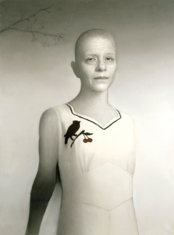 susan hauptman, Self-Portrait (with Branch), 2005, charcoal on paper, 54 x 40 inches
