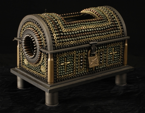 Al Farrow, Casket Reliquary III (Foot of Santo Guerro), 2011, bullets, shell casings, steel, wood, glass, bone, lock, antique velvet, 10 3/4 x 14 1/2 x 9 3/4 inches
