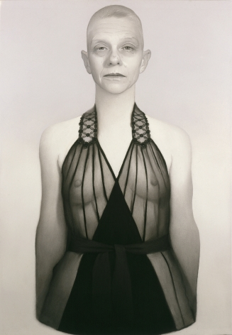 susan hauptman, Self-Portrait (La Perla #1), 2006, charcoal on paper, 54 x 40 inches