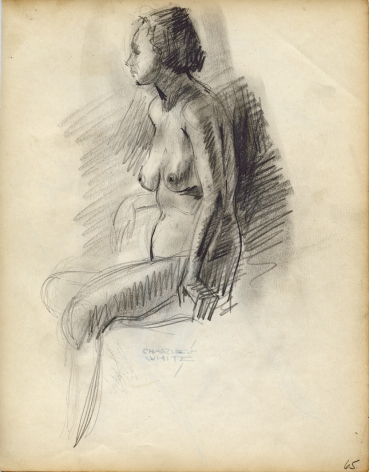 Charles White, Seated Nude (#65), c. 1935-38 pencil on paper 9 7/8 x 7 3/4 inches